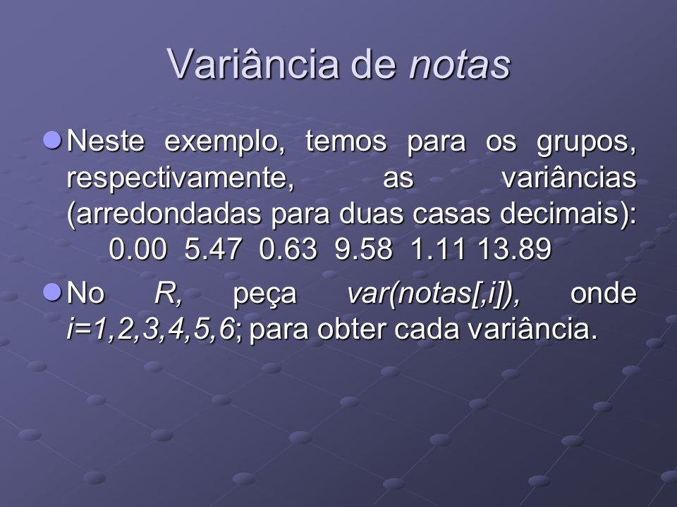 Variância de notas Neste exemplo, temos para os grupos, respectivamente, as variâncias (arredondadas para duas casas decimais): 0.00 5.47 0.63 9.58 1.11 13.89 Neste exemplo, temos para os grupos, respectivamente, as variâncias (arredondadas para duas casas decimais): 0.00 5.47 0.63 9.58 1.11 13.89 No R, peça var(notas[,i]), onde i=1,2,3,4,5,6; para obter cada variância.