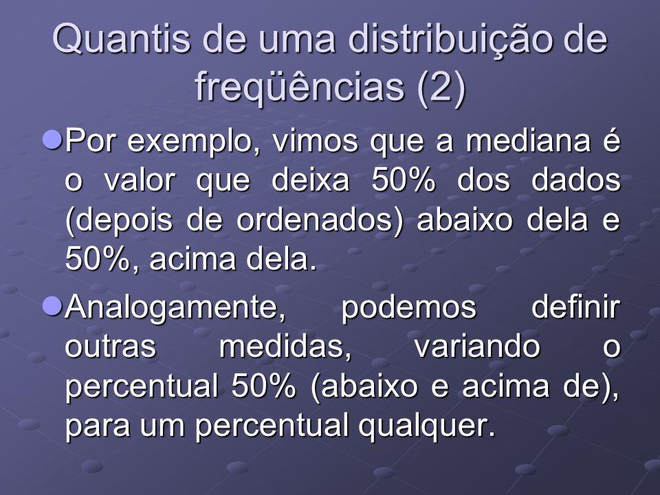 Quantis de uma distribuição de freqüências (2) Por exemplo, vimos que a mediana é o valor que deixa 50% dos dados (depois de ordenados) abaixo dela e 50%, acima dela.