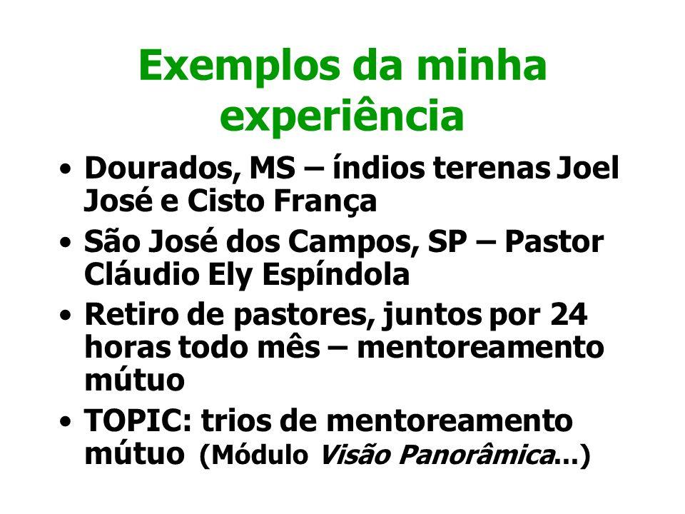 Exemplos da minha experiência Dourados, MS – índios terenas Joel José e Cisto França São José dos Campos, SP – Pastor Cláudio Ely Espíndola Retiro de