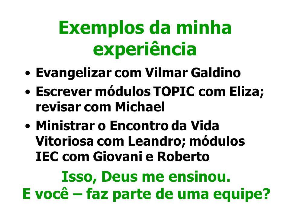 Exemplos da minha experiência Evangelizar com Vilmar Galdino Escrever módulos TOPIC com Eliza; revisar com Michael Ministrar o Encontro da Vida Vitori