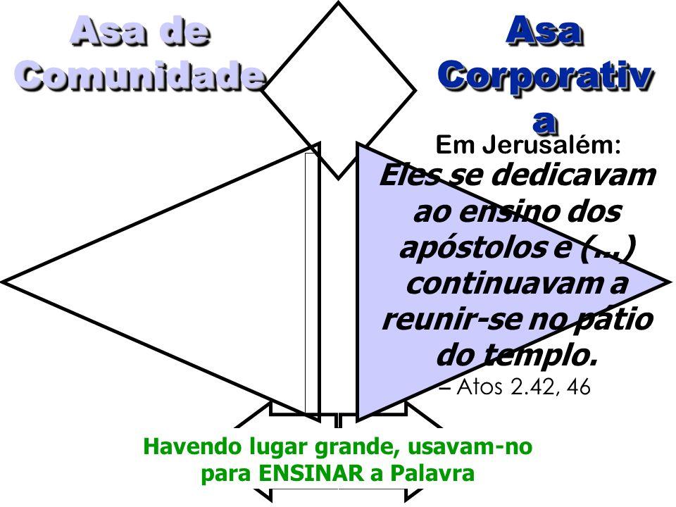 Asa Corporativ a Asa Asa de Comunidade Eles se dedicavam ao ensino dos apóstolos e (...) continuavam a reunir-se no pátio do templo. – Atos 2.42, 46 E