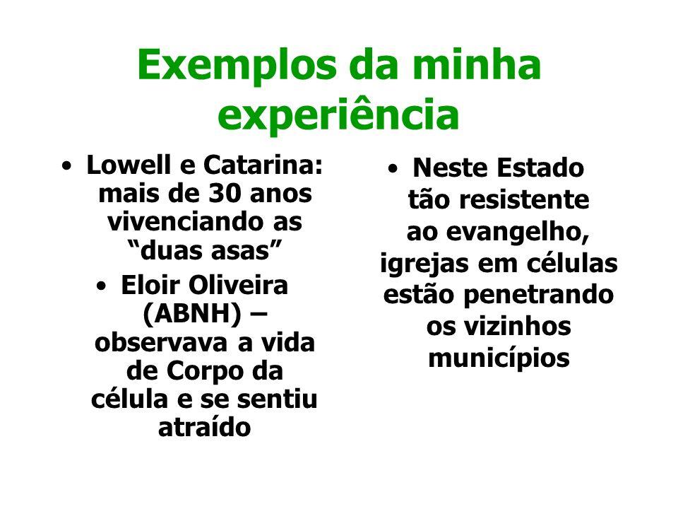 Exemplos da minha experiência Lowell e Catarina: mais de 30 anos vivenciando as duas asas Eloir Oliveira (ABNH) – observava a vida de Corpo da célula