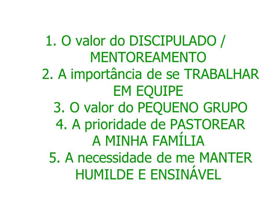 1º O valor do DISCIPULADO / MENTOREA- MENTO