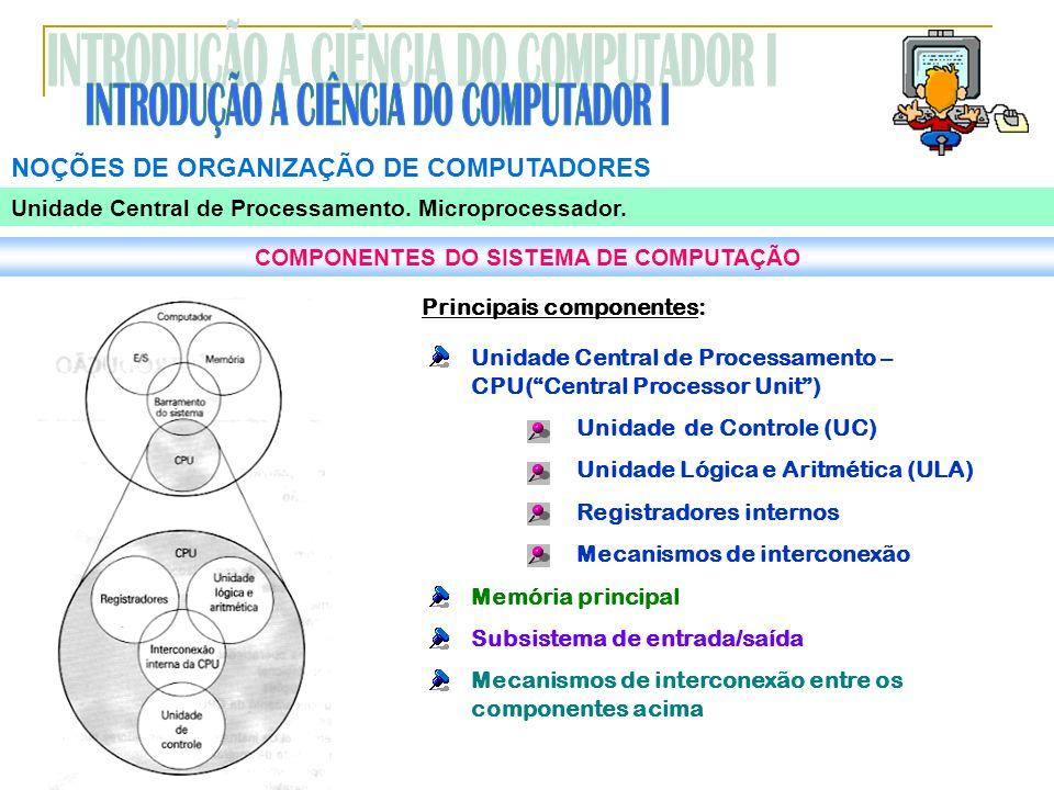 NOÇÕES DE ORGANIZAÇÃO DE COMPUTADORES Unidade Central de Processamento. Microprocessador. COMPONENTES DO SISTEMA DE COMPUTAÇÃO Principais componentes:
