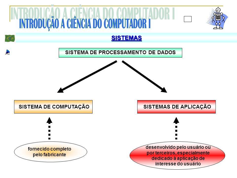 SISTEMAS SISTEMA DE PROCESSAMENTO DE DADOS SISTEMA DE COMPUTAÇÃOSISTEMAS DE APLICAÇÃO fornecido completo pelo fabricante desenvolvido pelo usuário ou