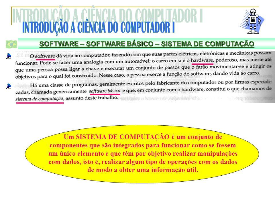 SOFTWARE – SOFTWARE BÁSICO – SISTEMA DE COMPUTAÇÃO Um SISTEMA DE COMPUTAÇÃO é um conjunto de componentes que são integrados para funcionar como se fos