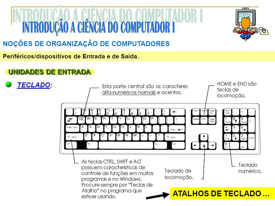 NOÇÕES DE ORGANIZAÇÃO DE COMPUTADORES Periféricos/dispositivos de Entrada e de Saída. UNIDADES DE ENTRADA TECLADO: ATALHOS DE TECLADO...