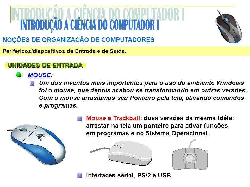NOÇÕES DE ORGANIZAÇÃO DE COMPUTADORES Periféricos/dispositivos de Entrada e de Saída. UNIDADES DE ENTRADA MOUSE: Um dos inventos mais importantes para