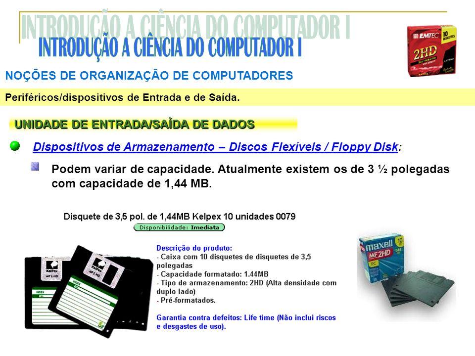 NOÇÕES DE ORGANIZAÇÃO DE COMPUTADORES Periféricos/dispositivos de Entrada e de Saída. UNIDADE DE ENTRADA/SAÍDA DE DADOS Dispositivos de Armazenamento