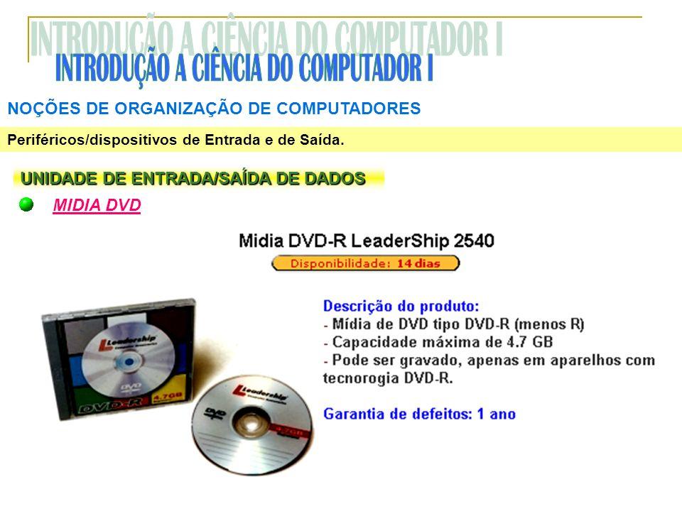 NOÇÕES DE ORGANIZAÇÃO DE COMPUTADORES Periféricos/dispositivos de Entrada e de Saída. UNIDADE DE ENTRADA/SAÍDA DE DADOS MIDIA DVD