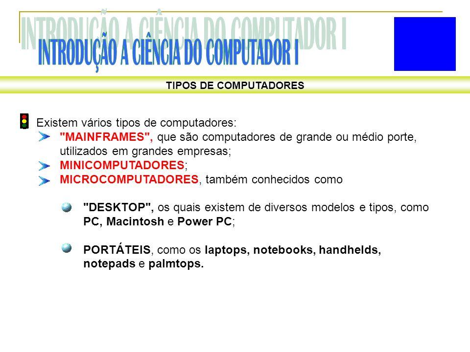TIPOS DE COMPUTADORES Existem vários tipos de computadores: