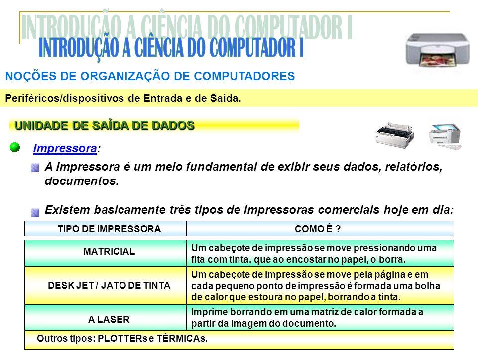 NOÇÕES DE ORGANIZAÇÃO DE COMPUTADORES Periféricos/dispositivos de Entrada e de Saída. UNIDADE DE SAÍDA DE DADOS Impressora: A Impressora é um meio fun