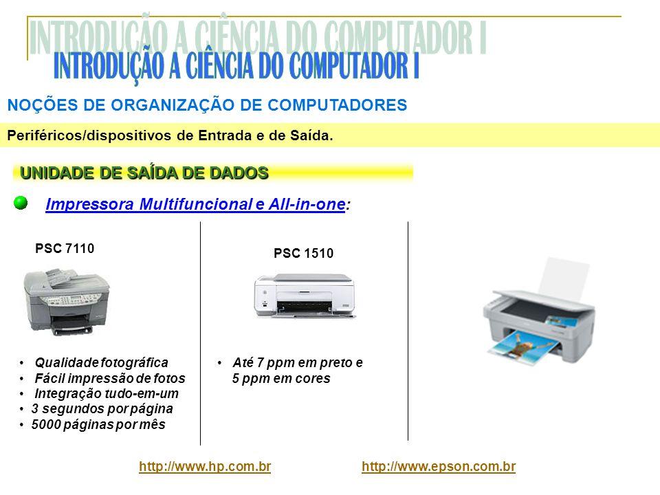 NOÇÕES DE ORGANIZAÇÃO DE COMPUTADORES Periféricos/dispositivos de Entrada e de Saída. UNIDADE DE SAÍDA DE DADOS Impressora Multifuncional e All-in-one