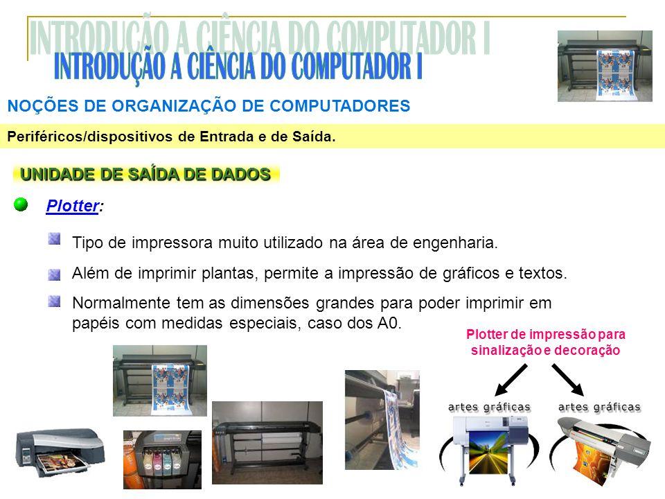 NOÇÕES DE ORGANIZAÇÃO DE COMPUTADORES Periféricos/dispositivos de Entrada e de Saída. UNIDADE DE SAÍDA DE DADOS Plotter: Tipo de impressora muito util