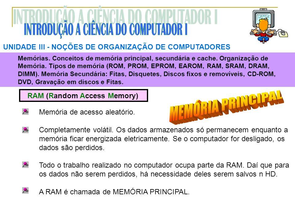 UNIDADE III NOÇÕES DE ORGANIZAÇÃO DE COMPUTADORES RAM (Random Access Memory) Memória de acesso aleatório. Completamente volátil. Os dados armazenados