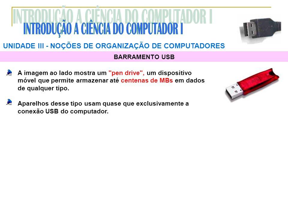 UNIDADE III NOÇÕES DE ORGANIZAÇÃO DE COMPUTADORES BARRAMENTO USB A imagem ao lado mostra um