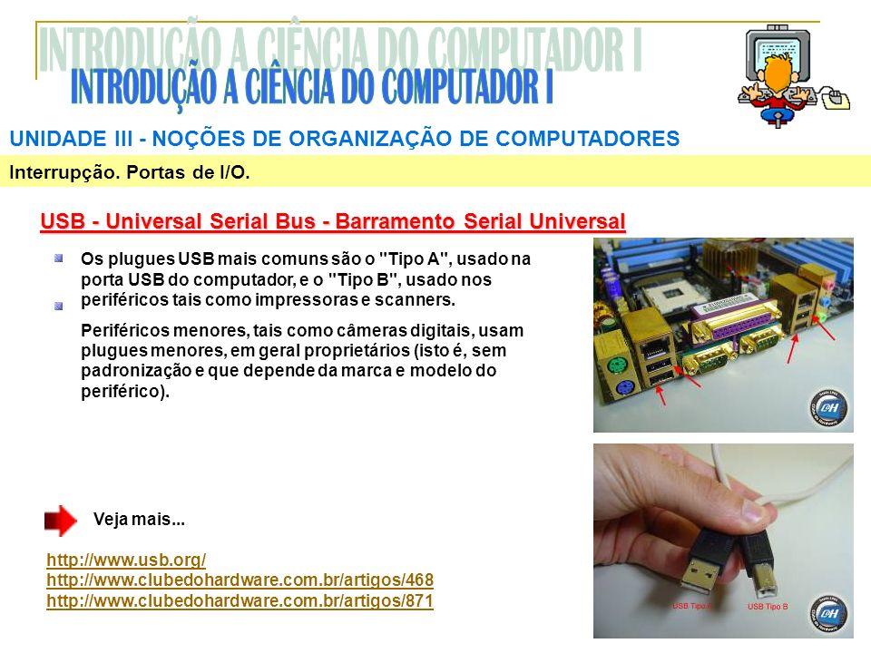 Interrupção. Portas de I/O. UNIDADE III NOÇÕES DE ORGANIZAÇÃO DE COMPUTADORES USB - Universal Serial Bus - Barramento Serial Universal Os plugues USB
