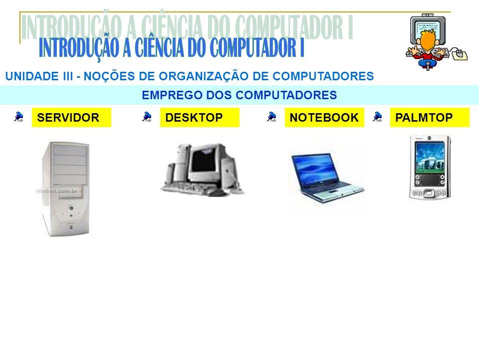 UNIDADE III NOÇÕES DE ORGANIZAÇÃO DE COMPUTADORES EMPREGO DOS COMPUTADORES SERVIDORDESKTOPNOTEBOOKPALMTOP
