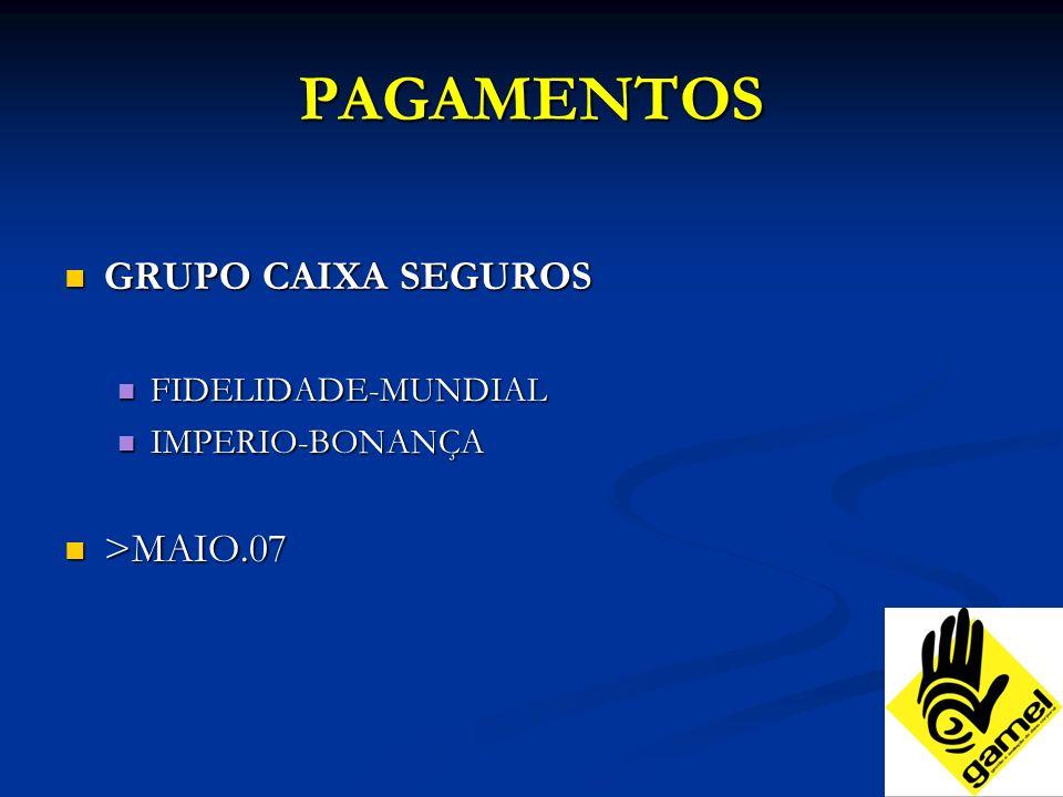 PAGAMENTOS GRUPO CAIXA SEGUROS GRUPO CAIXA SEGUROS FIDELIDADE-MUNDIAL FIDELIDADE-MUNDIAL IMPERIO-BONANÇA IMPERIO-BONANÇA >MAIO.07 >MAIO.07
