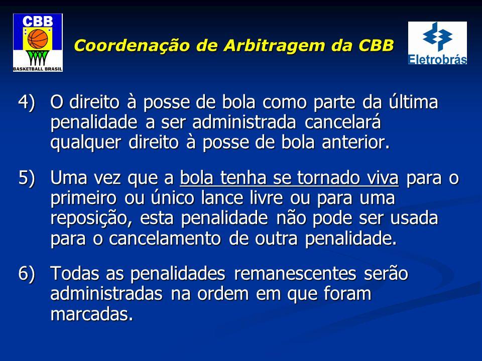 Coordenação de Arbitragem da CBB 4)O direito à posse de bola como parte da última penalidade a ser administrada cancelará qualquer direito à posse de