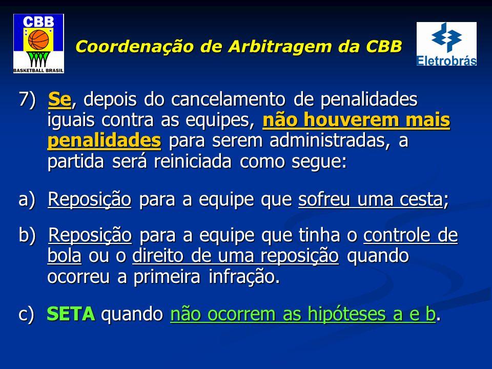 Coordenação de Arbitragem da CBB 7) Se, depois do cancelamento de penalidades iguais contra as equipes, não houverem mais penalidades para serem admin