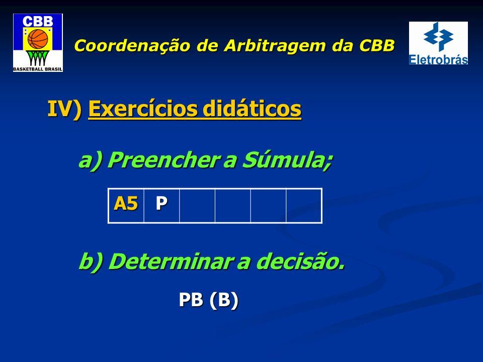 Coordenação de Arbitragem da CBB IV) Exercícios didáticos a) Preencher a Súmula; b) Determinar a decisão. PB (B) PB (B) A5P