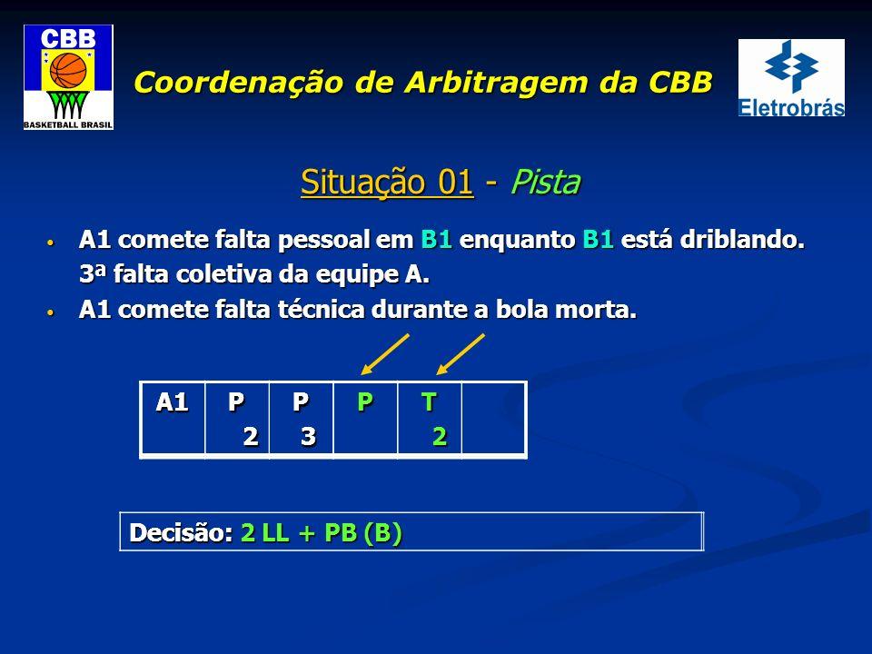 Coordenação de Arbitragem da CBB Situação 01 - Pista A1 comete falta pessoal em B1 enquanto B1 está driblando. A1 comete falta pessoal em B1 enquanto