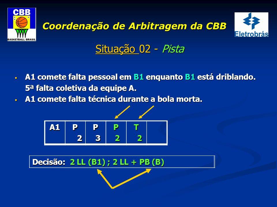 Coordenação de Arbitragem da CBB Situação 02 - Pista A1 comete falta pessoal em B1 enquanto B1 está driblando. A1 comete falta pessoal em B1 enquanto