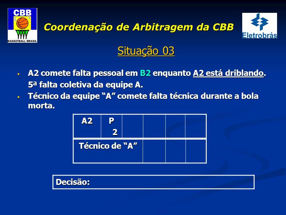 Coordenação de Arbitragem da CBB Situação 03 A2 comete falta pessoal em B2 enquanto A2 está driblando. A2 comete falta pessoal em B2 enquanto A2 está