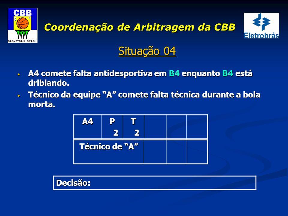 Coordenação de Arbitragem da CBB Situação 04 A4 comete falta antidesportiva em B4 enquanto B4 está driblando. A4 comete falta antidesportiva em B4 enq