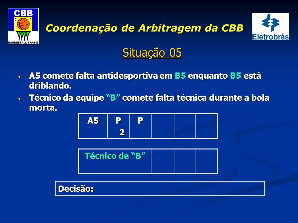Coordenação de Arbitragem da CBB Situação 05 A5 comete falta antidesportiva em B5 enquanto B5 está driblando. A5 comete falta antidesportiva em B5 enq