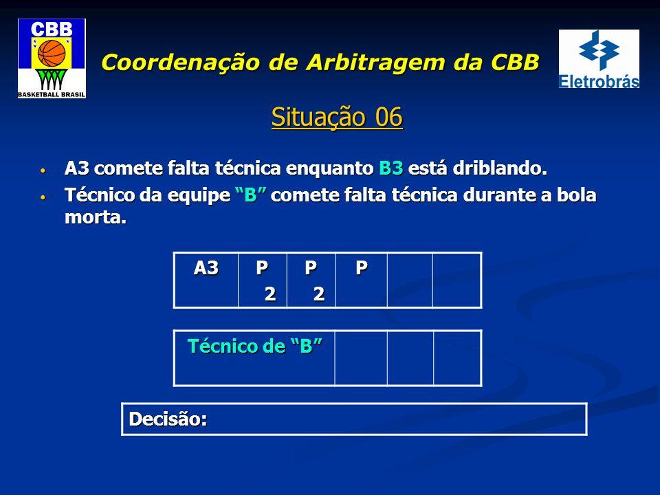 Coordenação de Arbitragem da CBB Situação 06 A3 comete falta técnica enquanto B3 está driblando. A3 comete falta técnica enquanto B3 está driblando. T