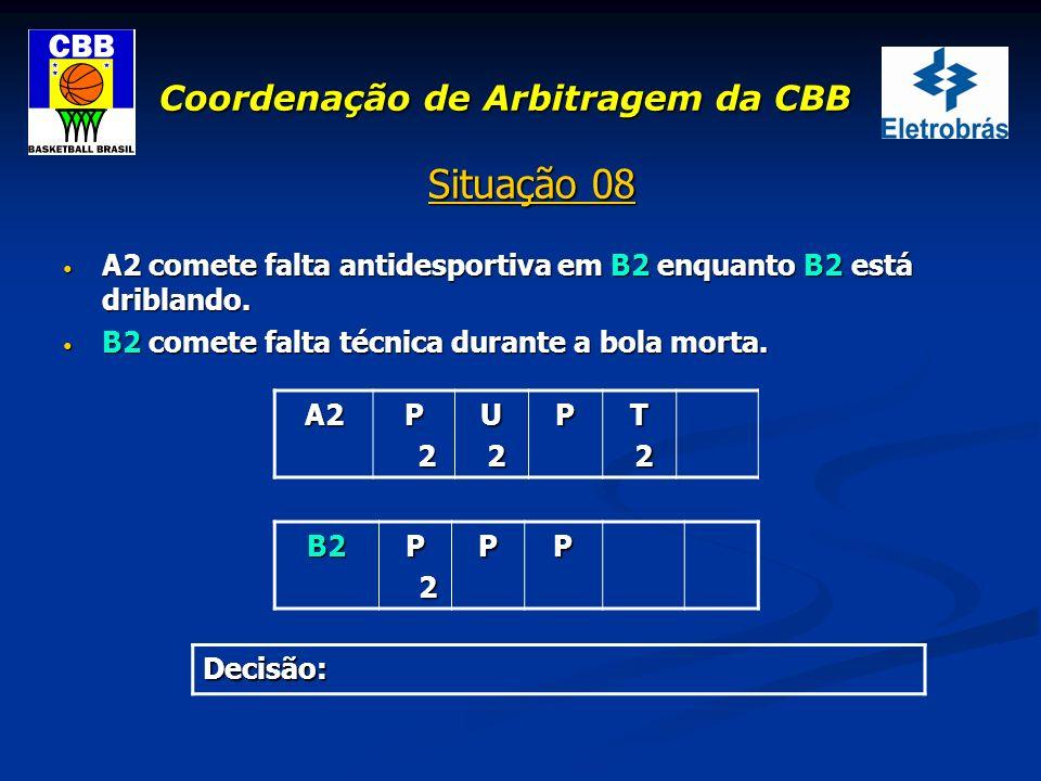 Coordenação de Arbitragem da CBB Situação 08 A2 comete falta antidesportiva em B2 enquanto B2 está driblando. A2 comete falta antidesportiva em B2 enq