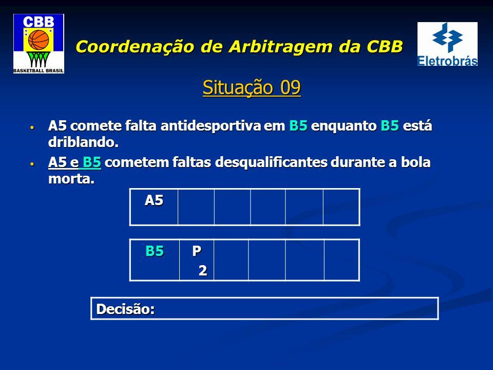 Coordenação de Arbitragem da CBB Situação 09 A5 comete falta antidesportiva em B5 enquanto B5 está driblando. A5 comete falta antidesportiva em B5 enq