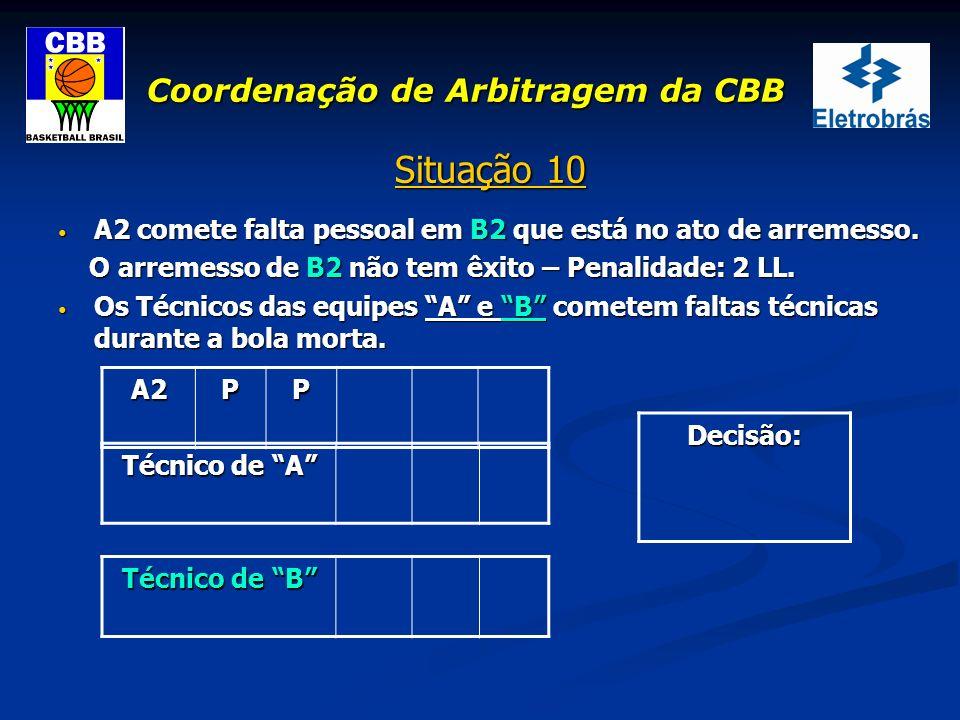 Coordenação de Arbitragem da CBB Situação 10 A2 comete falta pessoal em B2 que está no ato de arremesso. A2 comete falta pessoal em B2 que está no ato