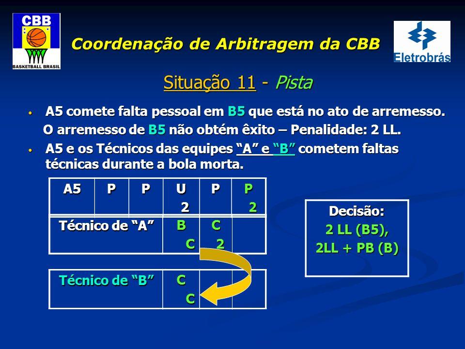 Coordenação de Arbitragem da CBB Situação 11 - Pista A5 comete falta pessoal em B5 que está no ato de arremesso. A5 comete falta pessoal em B5 que est