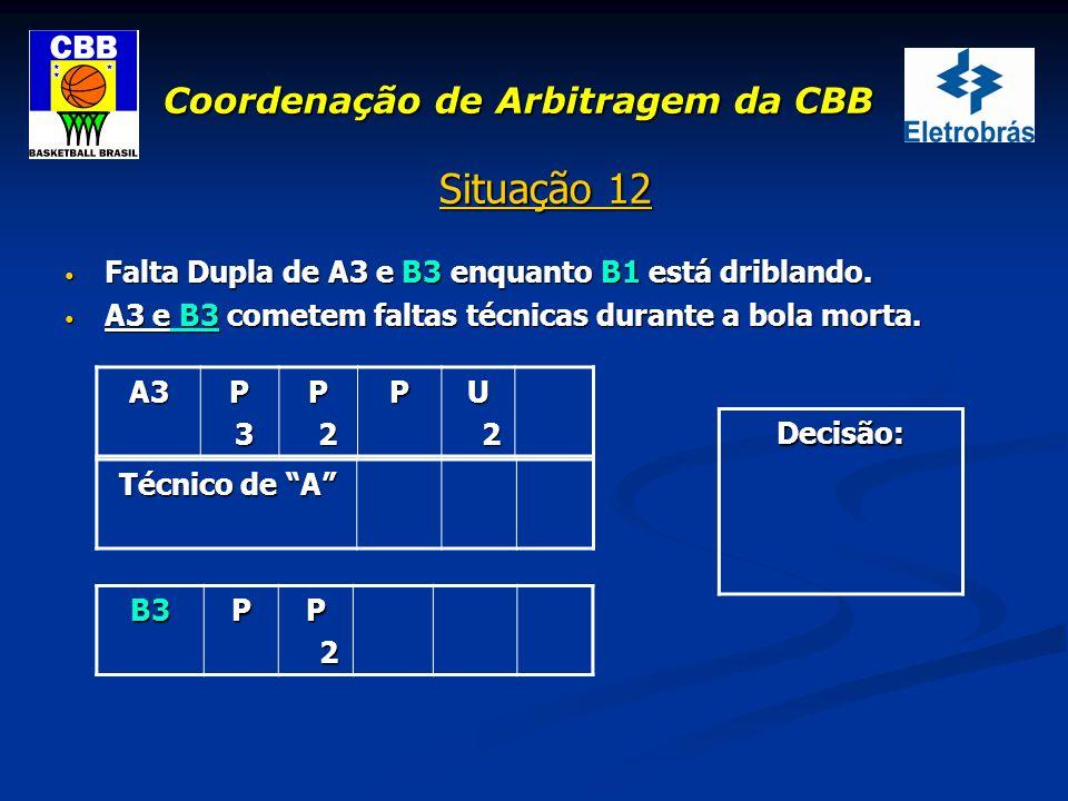 Coordenação de Arbitragem da CBB Situação 12 Falta Dupla de A3 e B3 enquanto B1 está driblando. Falta Dupla de A3 e B3 enquanto B1 está driblando. A3