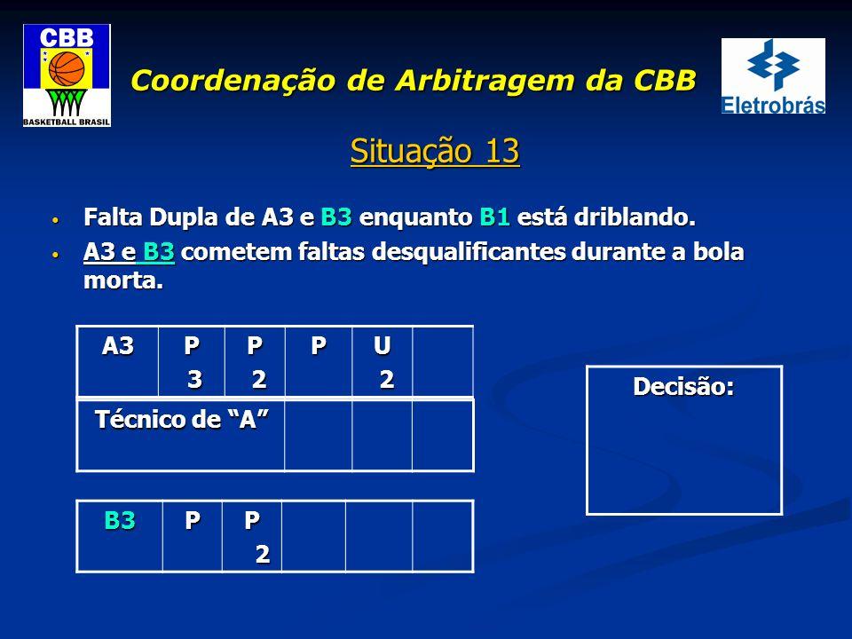 Coordenação de Arbitragem da CBB Situação 13 Falta Dupla de A3 e B3 enquanto B1 está driblando. Falta Dupla de A3 e B3 enquanto B1 está driblando. A3