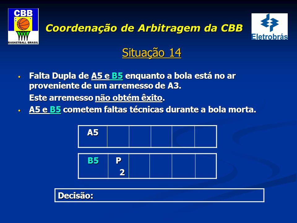 Coordenação de Arbitragem da CBB Situação 14 Falta Dupla de A5 e B5 enquanto a bola está no ar proveniente de um arremesso de A3. Falta Dupla de A5 e