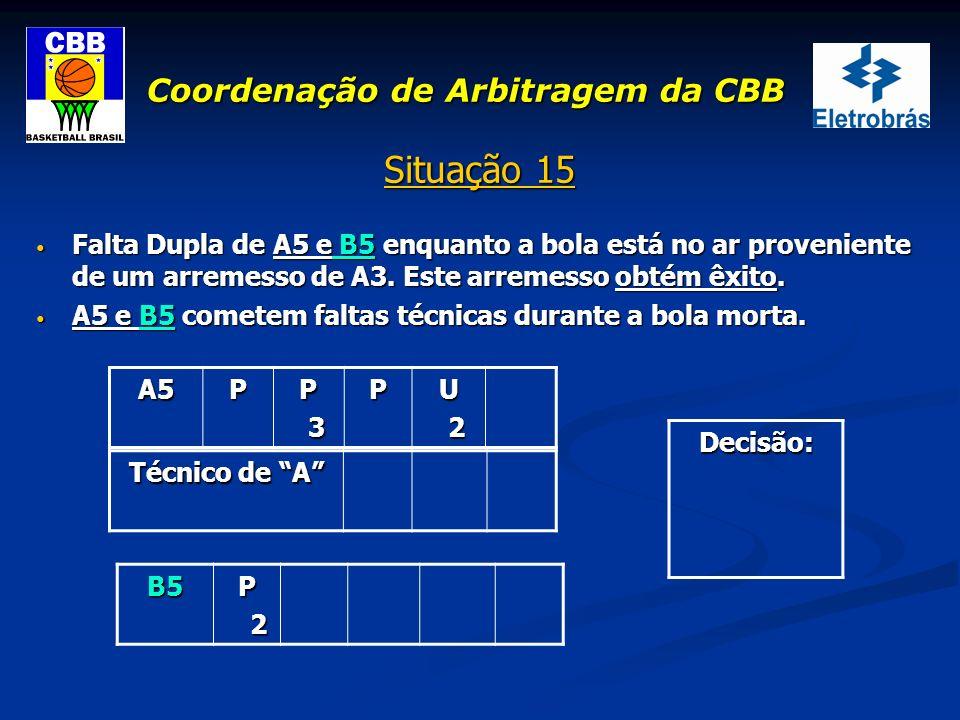 Coordenação de Arbitragem da CBB Situação 15 Falta Dupla de A5 e B5 enquanto a bola está no ar proveniente de um arremesso de A3. Este arremesso obtém
