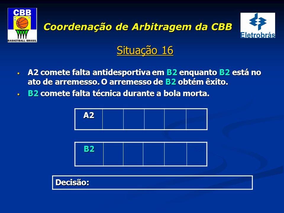 Coordenação de Arbitragem da CBB Situação 16 A2 comete falta antidesportiva em B2 enquanto B2 está no ato de arremesso. O arremesso de B2 obtém êxito.