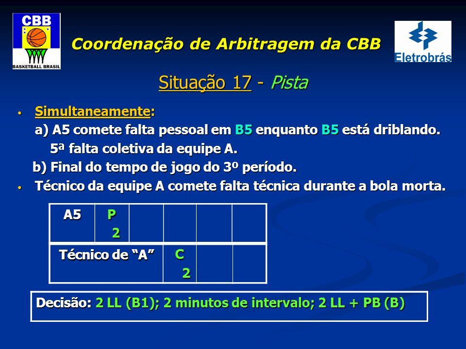 Coordenação de Arbitragem da CBB Situação 17 - Pista Simultaneamente: Simultaneamente: a) A5 comete falta pessoal em B5 enquanto B5 está driblando. 5ª