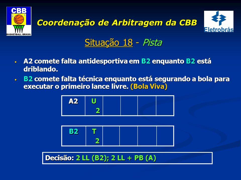 Coordenação de Arbitragem da CBB Situação 18 - Pista A2 comete falta antidesportiva em B2 enquanto B2 está driblando. A2 comete falta antidesportiva e