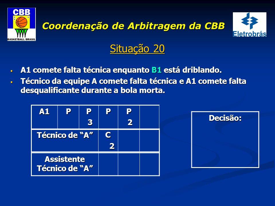 Coordenação de Arbitragem da CBB Situação 20 A1 comete falta técnica enquanto B1 está driblando. A1 comete falta técnica enquanto B1 está driblando. T