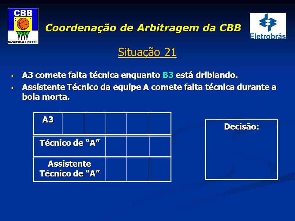 Coordenação de Arbitragem da CBB Situação 21 A3 comete falta técnica enquanto B3 está driblando. A3 comete falta técnica enquanto B3 está driblando. A