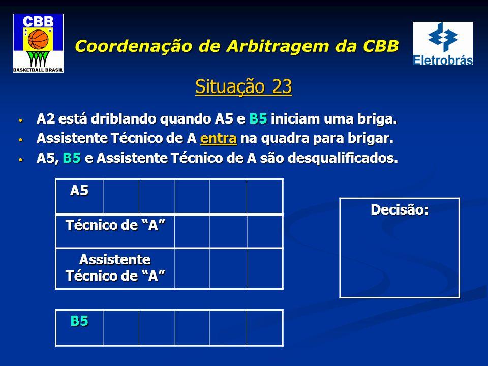 Coordenação de Arbitragem da CBB Situação 23 A2 está driblando quando A5 e B5 iniciam uma briga. A2 está driblando quando A5 e B5 iniciam uma briga. A