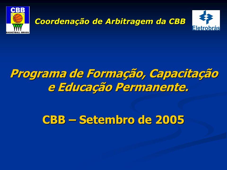 Coordenação de Arbitragem da CBB Programa de Formação, Capacitação e Educação Permanente. CBB – Setembro de 2005