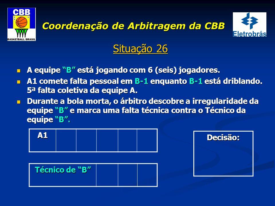 Coordenação de Arbitragem da CBB Situação 26 A equipe B está jogando com 6 (seis) jogadores. A equipe B está jogando com 6 (seis) jogadores. A1 comete
