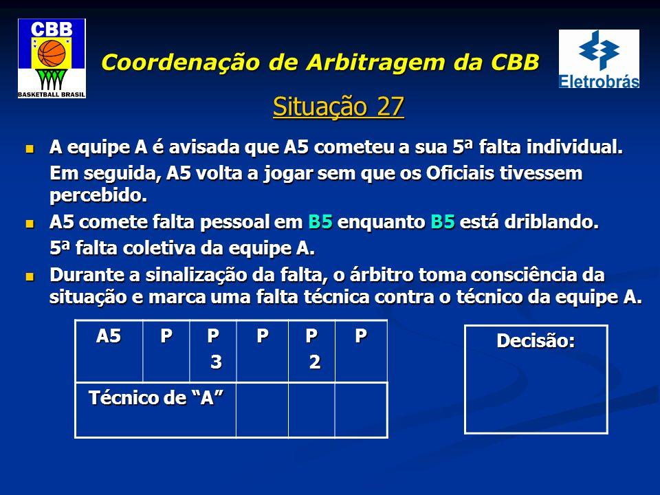Coordenação de Arbitragem da CBB Situação 27 A equipe A é avisada que A5 cometeu a sua 5ª falta individual. A equipe A é avisada que A5 cometeu a sua