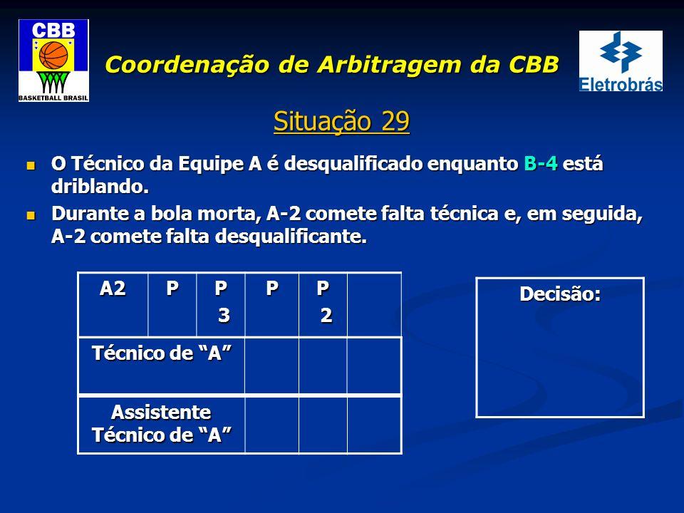 Coordenação de Arbitragem da CBB Situação 29 O Técnico da Equipe A é desqualificado enquanto B-4 está driblando. O Técnico da Equipe A é desqualificad